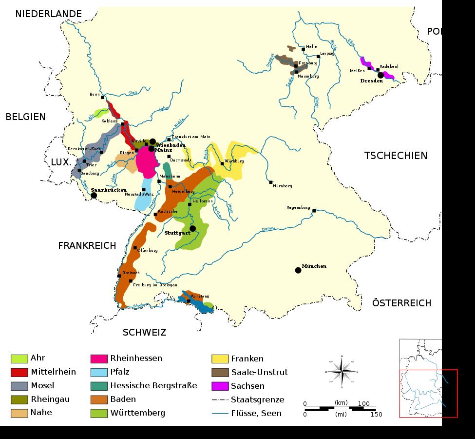 Duitse wijn gebieden